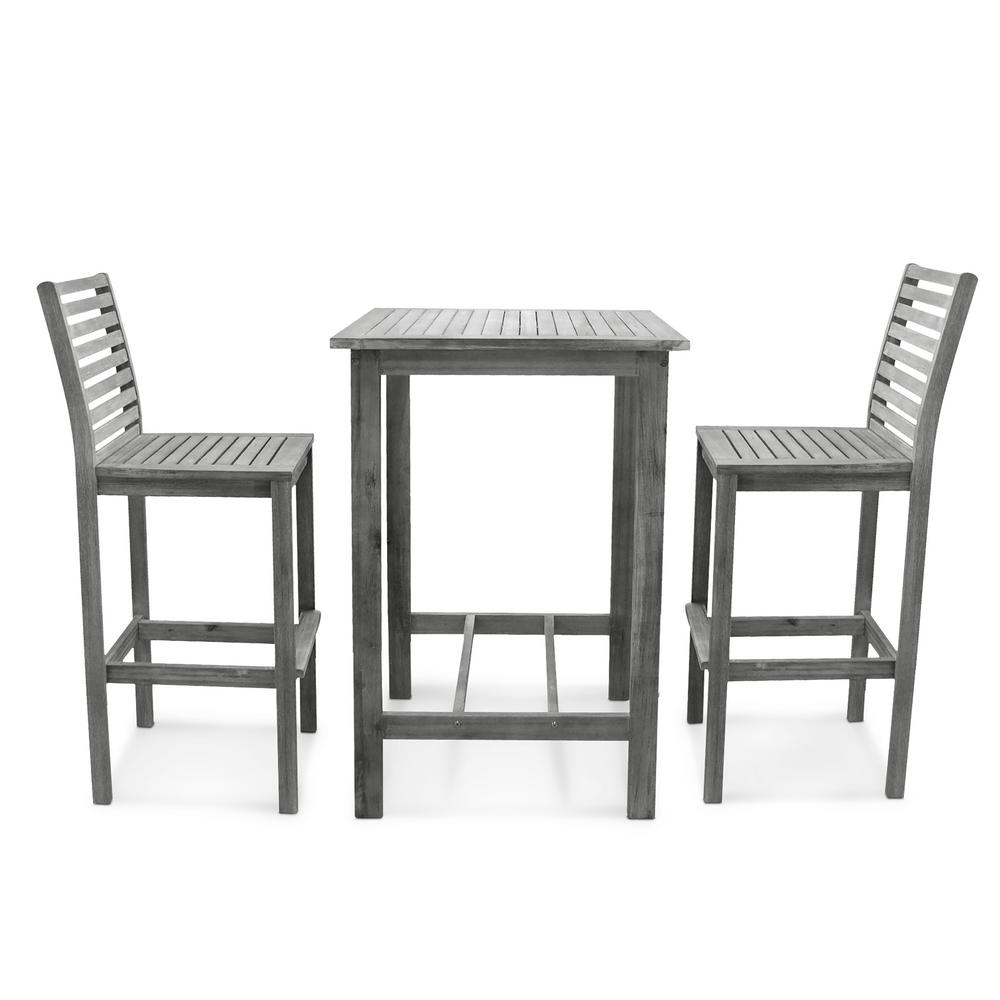 square bar height dining table wood vifah renaissance handsscraped 3piece wood square table outdoor bar height dining set