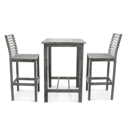 Renaissance Hand-scraped 3-Piece Wood Square Table Outdoor Bar Height Dining Set