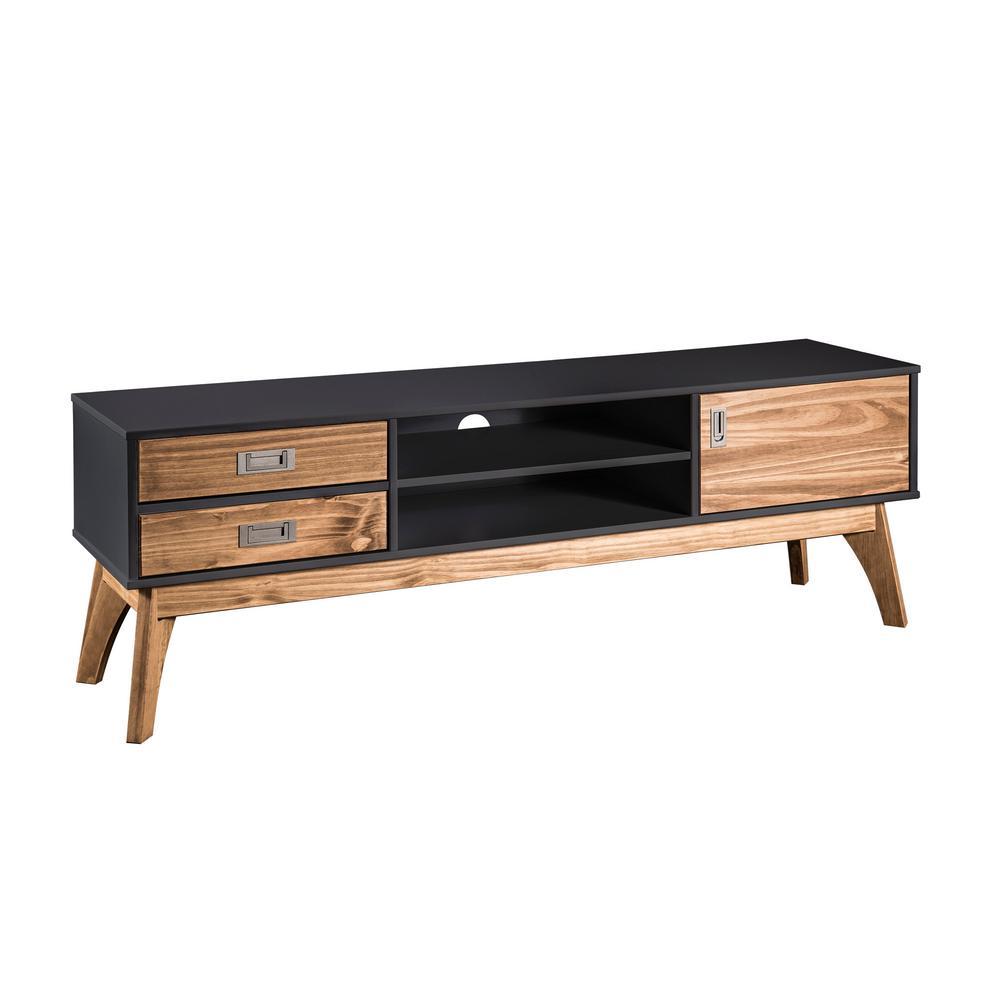 Dark Grey And Natural Wood Tv Stand