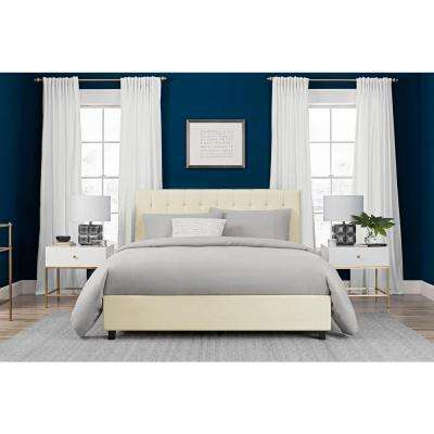 Emily Vanilla Upholstered Faux Leather Full Size Bed Frame