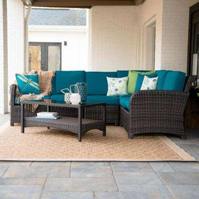Jackson 5-Piece Wicker Outdoor Sectional Set with Peacock Cushions