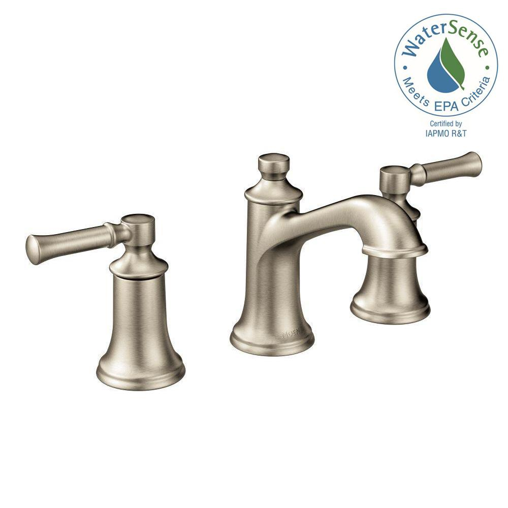 MOEN Dartmoor 8 in  Widespread 2 Handle Bathroom Faucet in Brushed Nickel   Valve. MOEN Dartmoor 8 in  Widespread 2 Handle Bathroom Faucet in Brushed