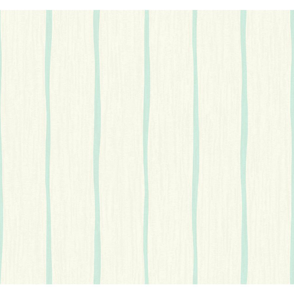 Seabrook Designs Aruba Aqua and Off-White Waving Stripe Wallpaper TA21202