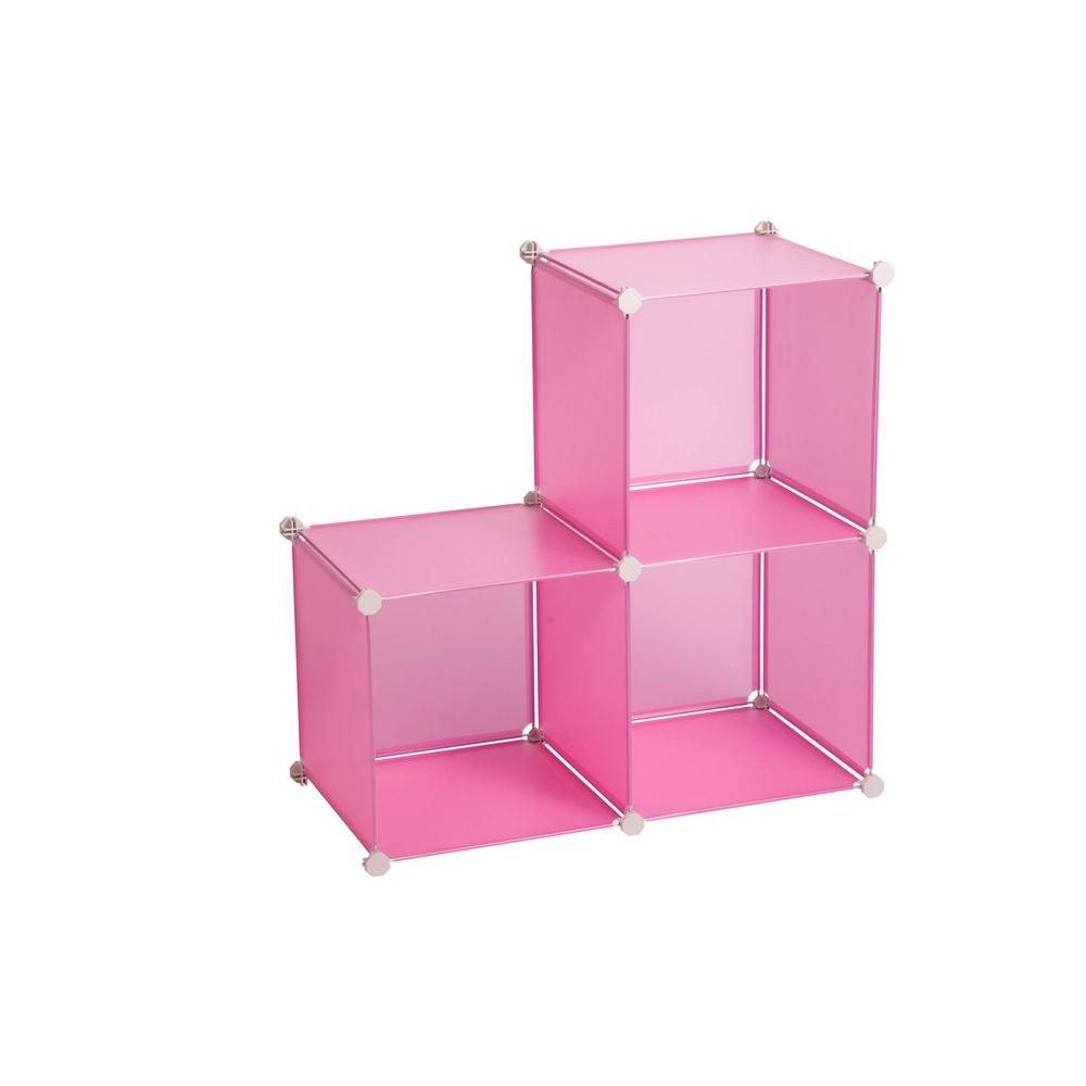 Honey Can Do 143 Qt. Storage Cubes Bin Pink (3 Pack
