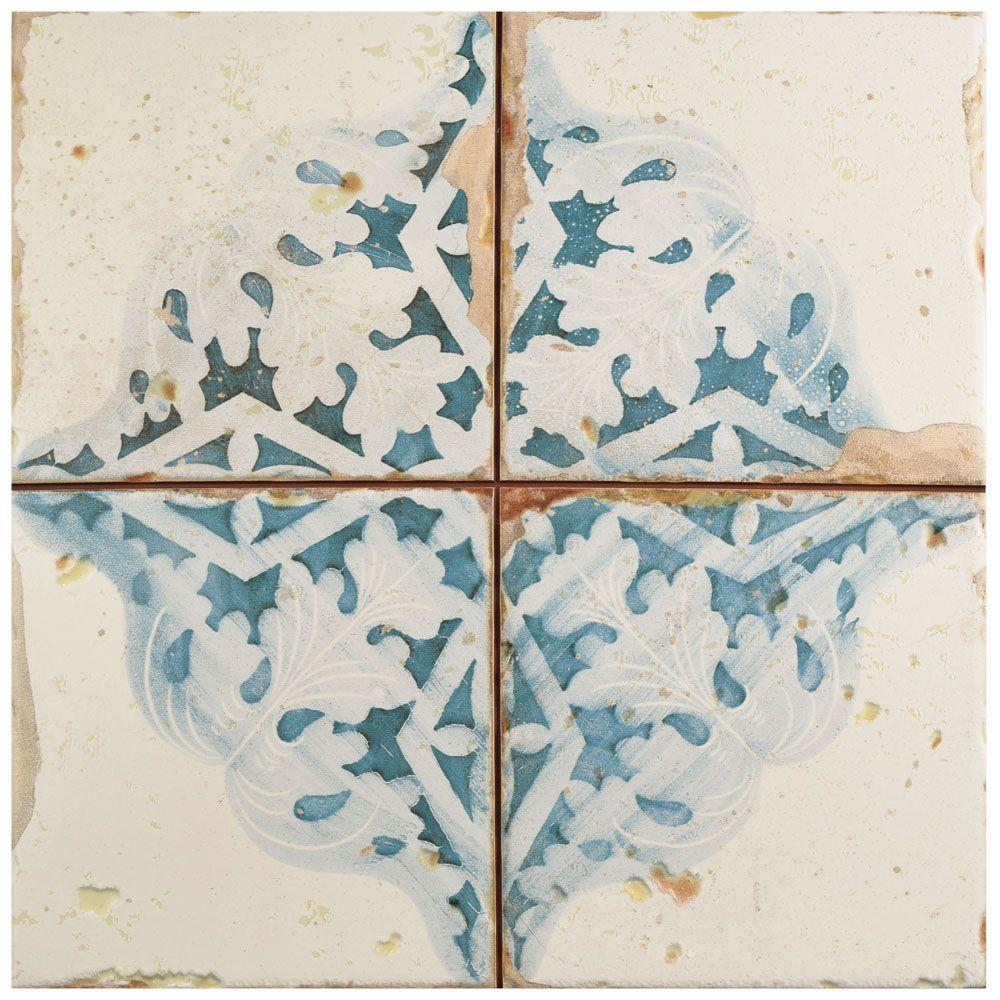 Merola Tile Artisan Azul Decor 13 in. x 13 in. Ceramic Floor and ...