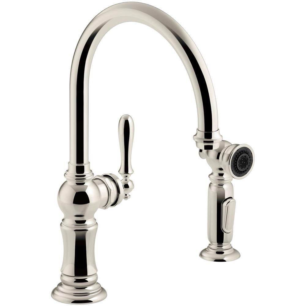 KOHLER Artifacts Single-Handle Kitchen Faucet with Swing Spout and Side  Sprayer in Vibrant Polished Nickel