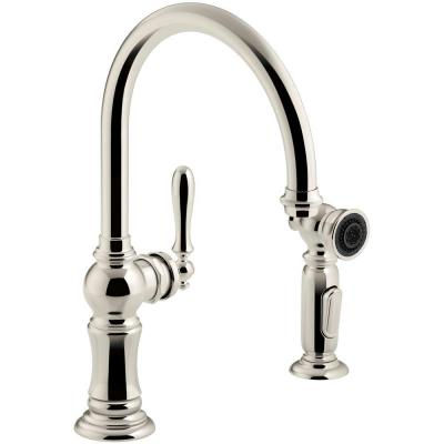 Artifacts Single-Handle Kitchen Faucet with Swing Spout and Side Sprayer in Vibrant Polished Nickel