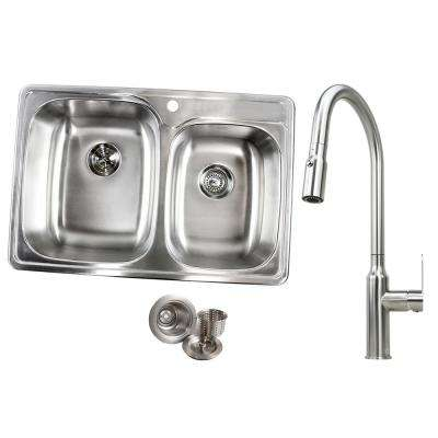 Drop-In Stainless Steel 33 in. x 22 in. x 9 in. 1 Faucet Hole 60/40 Offset Double Bowl Kitchen Sink and Faucet Combo