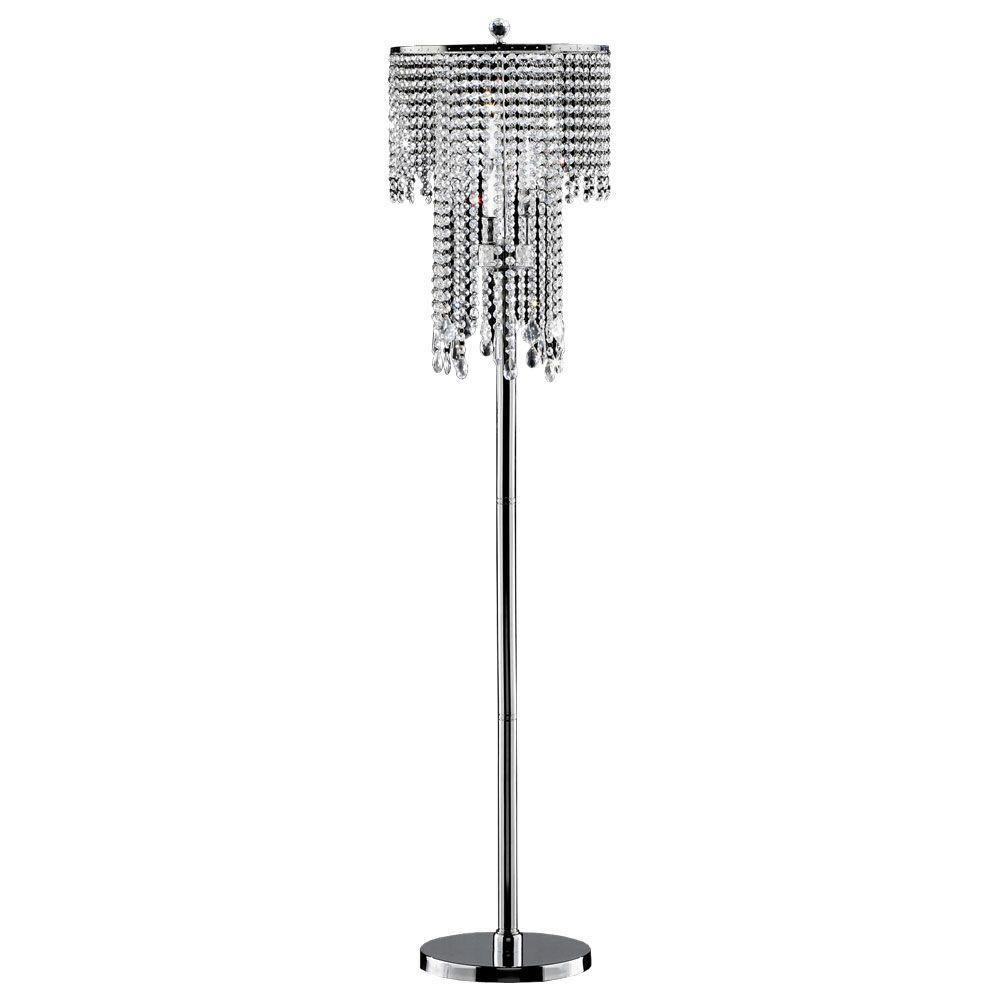 63 in. Silver Rain Metal Floor Lamp