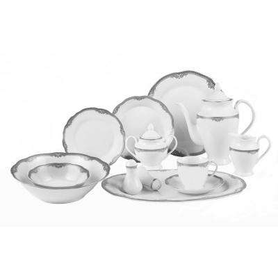 57-Piece Wavy Edge Gold Trim Dinnerware Set