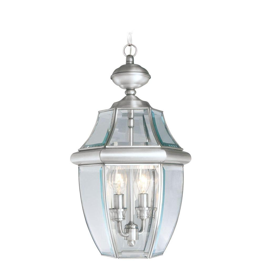 Livex Lighting Providence Collection 2-Light Brushed Nickel with Clear Beveled Glass Outdoor Pendant