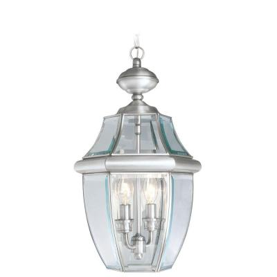 Providence Collection 2-Light Brushed Nickel with Clear Beveled Glass Outdoor Pendant