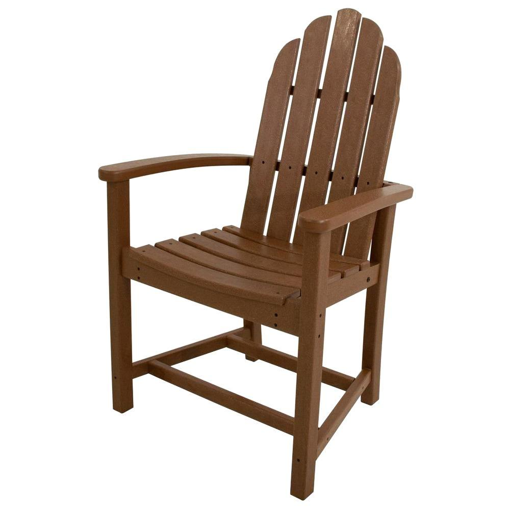 POLYWOOD Classic Teak Adirondack All-Weather Plastic Outdoor Dining Chair