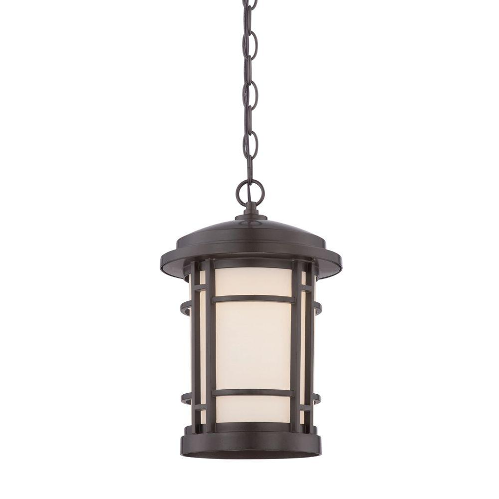 Barrister 9 in. Burnished Bronze LED Hanging Lantern