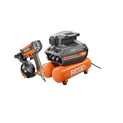 4.5 Gal. Portable Electric Strong Start Air Compressor with 15° 1-3/4 in. Coil Roofing Nailer