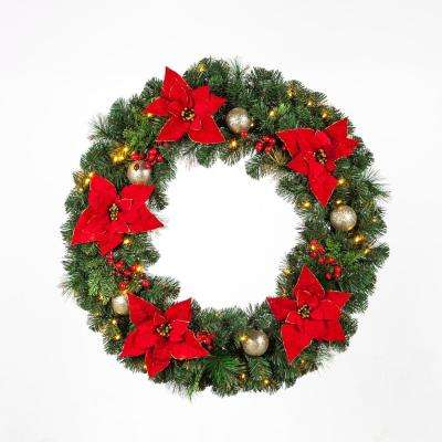 36 in. Pre-Lit LED Artificial Christmas Wreath with Poinsettias