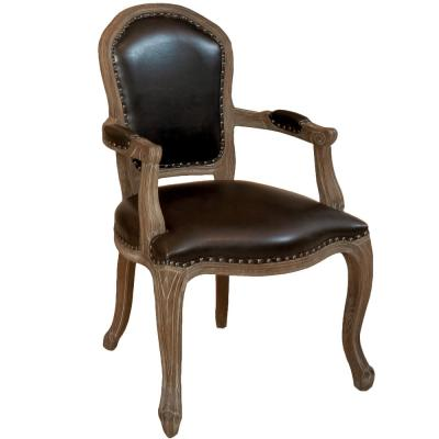 Maryland Leather Weathered Wood Arm Chair