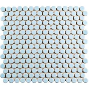 Hudson Penny Round Cashmere Blue 12 in. x 12-5/8 in. x 5 mm Porcelain Mosaic Tile