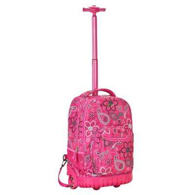 19 in. Pinkbandana Rolling Backpack