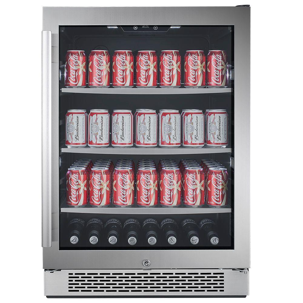 Avallon 140 Can 24 in  Built-in Beverage Cooler in Black and Stainless Steel