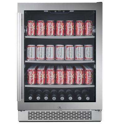 152 Can 24 in. Built-in Beverage Cooler in Black and Stainless Steel