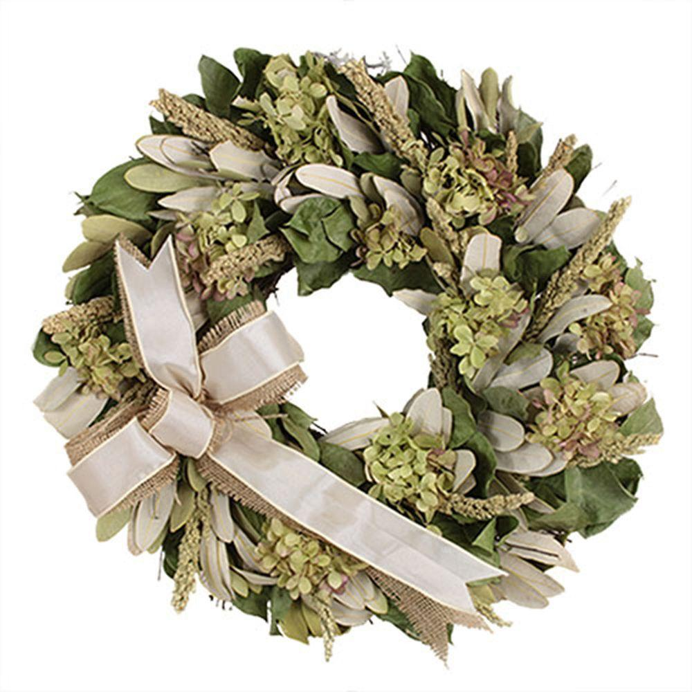The Christmas Tree Company Hydrangea and Burlap 16 in. Dried Floral Wreath