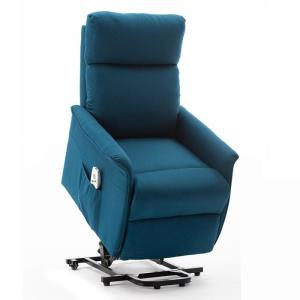 Blue Reclining Heated Zero Gravity Full Body Massage Chair with Ottoman