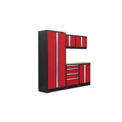 Bold 3.0 77.25 in. H x 78 in. W x 18 in. D 24-Gauge Welded Steel Bamboo Worktop Cabinet Set in Red (6-Piece)