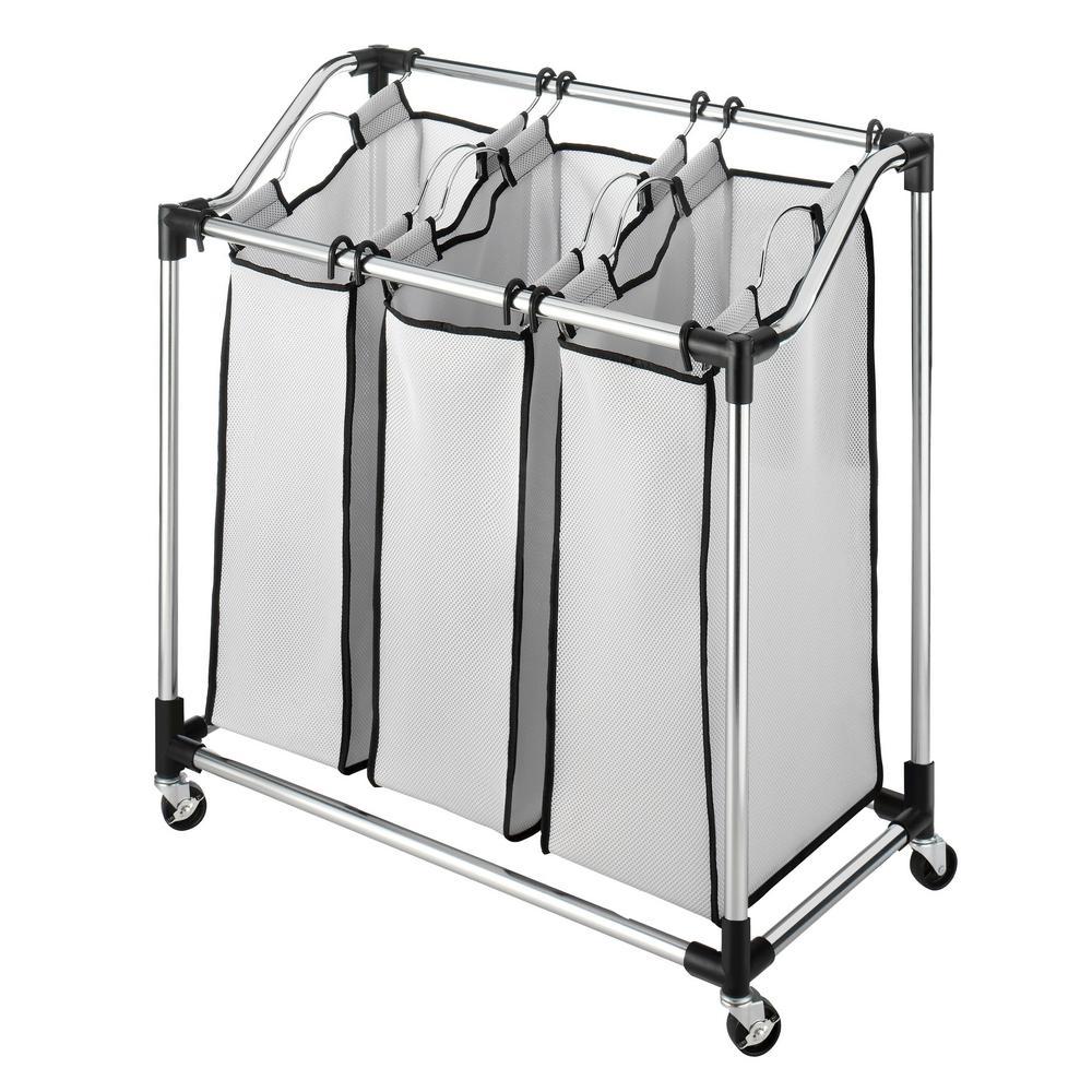 Whitmor Mfg Co Chrome (Grey) Laundry Hamper Sorter