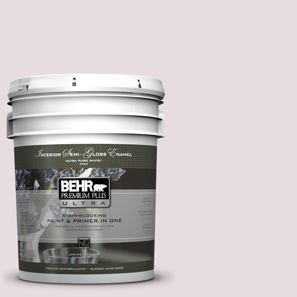 5 gal. #100E-1 Coquette Semi-Gloss Enamel Interior Paint and Primer in