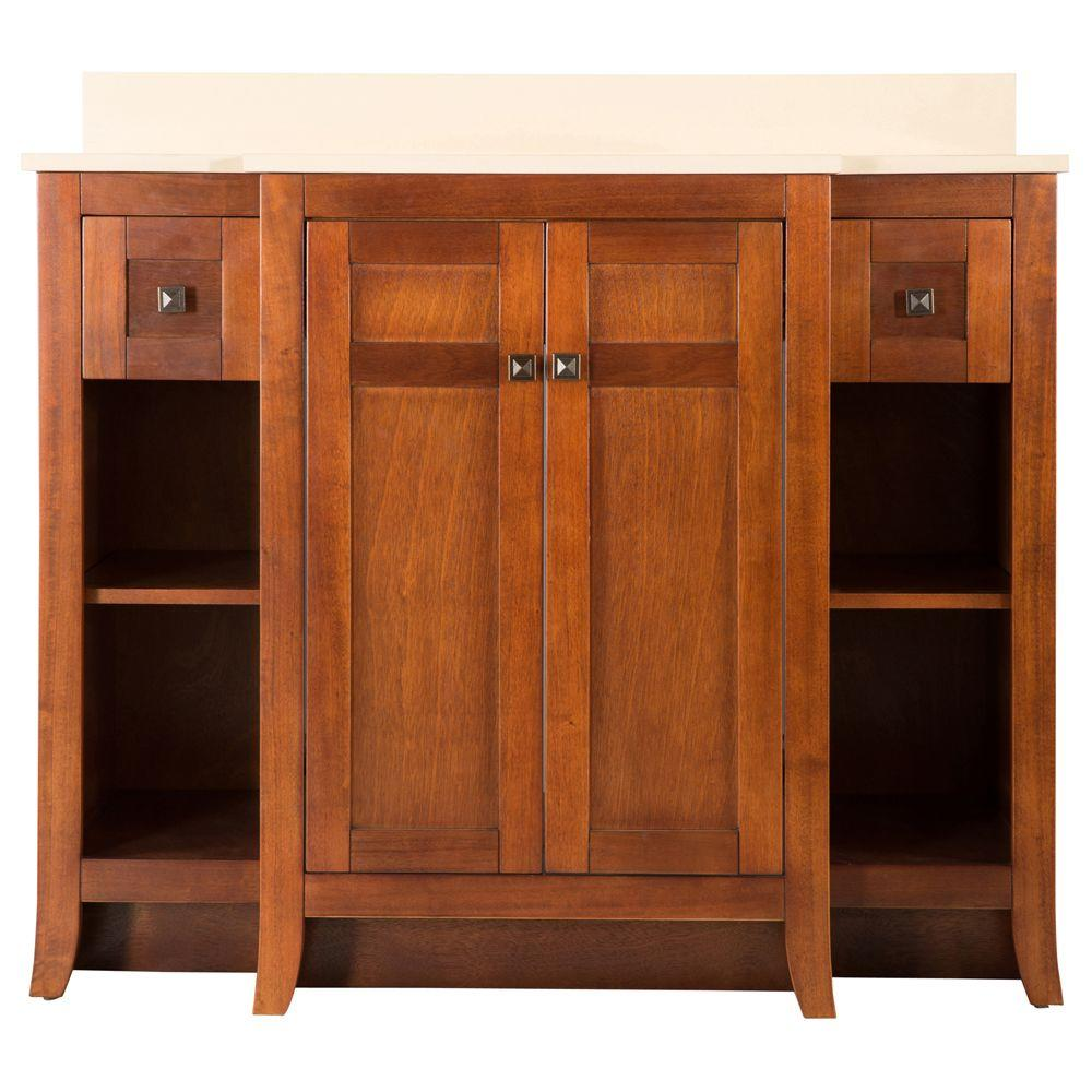 Foremost Townsville 42 in. Vanity in Walnut with Vanity Quartz Top in Summer Sand