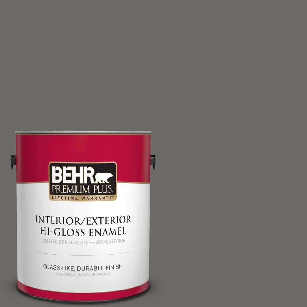 1 gal. #PPU18-18 Mined Coal Hi-Gloss Enamel Interior/Exterior Paint