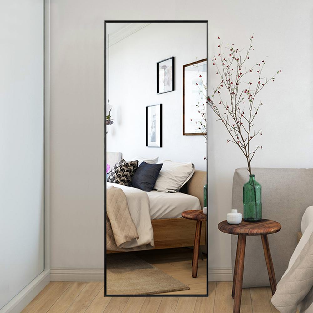Oversized Black Metal Beveled Glass Modern Classic Mirror (64.17 in. H X 21.26 in. W)