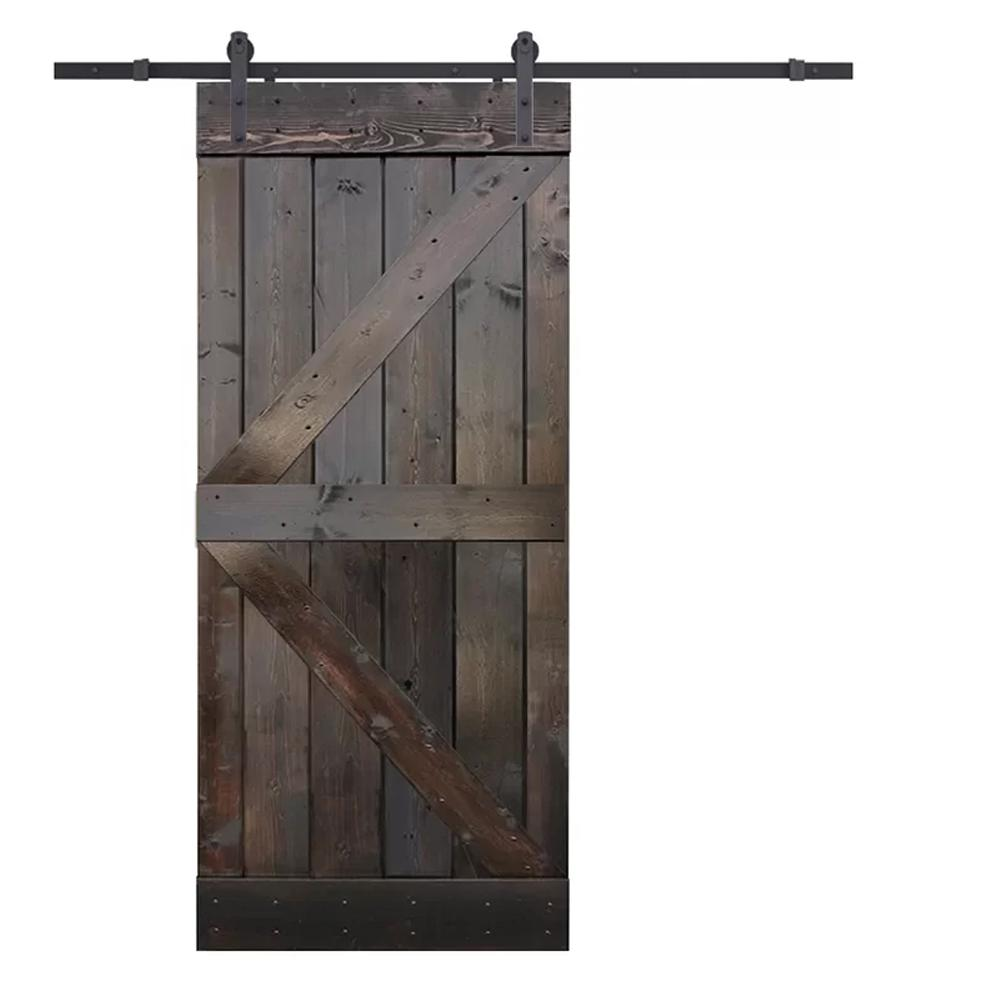 Calhome 36 In X 84 In K Style Knotty Pine Wood Diy Sliding Barn Door With Hardware Kit