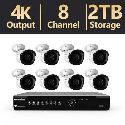 8-Channel Ultra-HD 4K IP NVR 2TB HDD Indoor/Outdoor Surveillance System (8) 4MP Bullet Cameras with Remote View