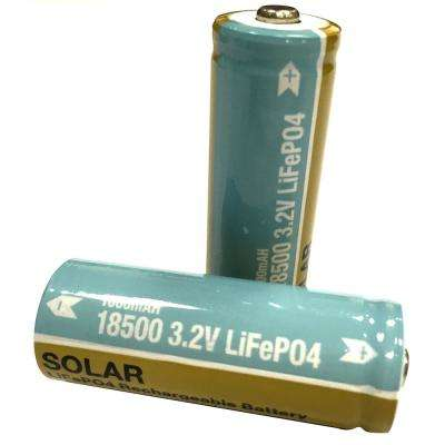 Lithium Phosphate 1000mAh Solar Rechargeable 18500 Batteries (2-Pack)