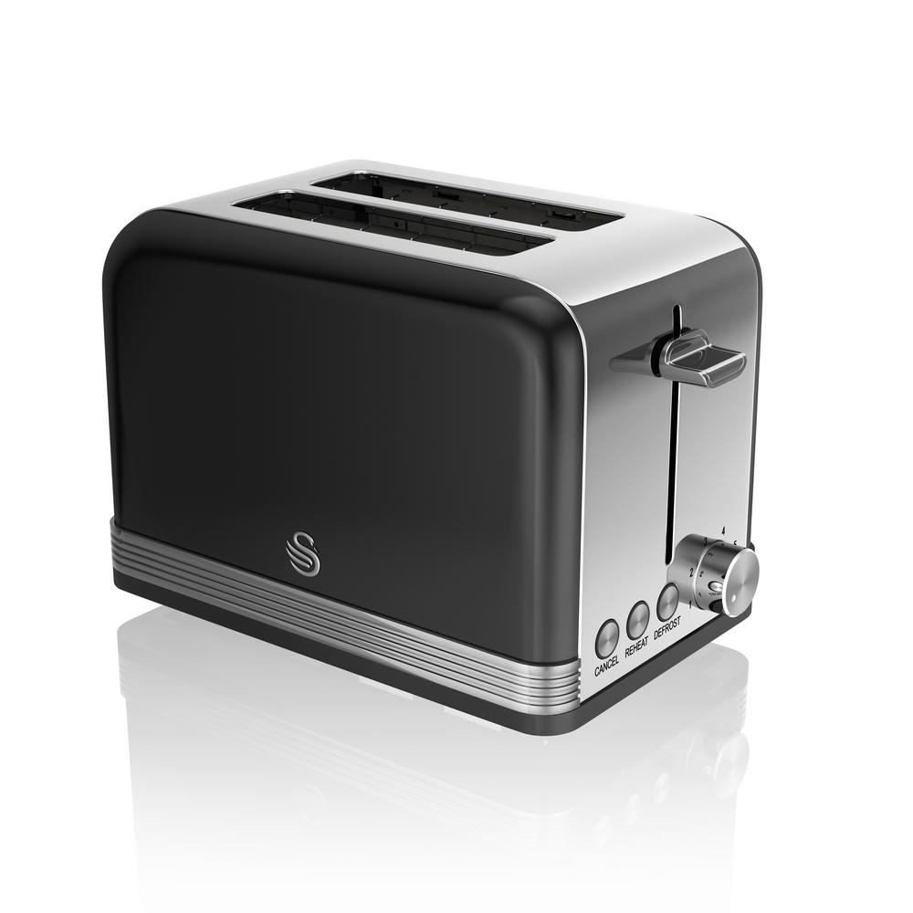 Retro 2-Slice Black Toaster Power up your kitchen design with the chic, mid-century modern lines of Swan's Retro Style 2-Slice Toaster. In addition to adjustable browning in auto centered racks, it offers defrost, reheat and cancel functions. Compliments any kitchen. Color: Black.