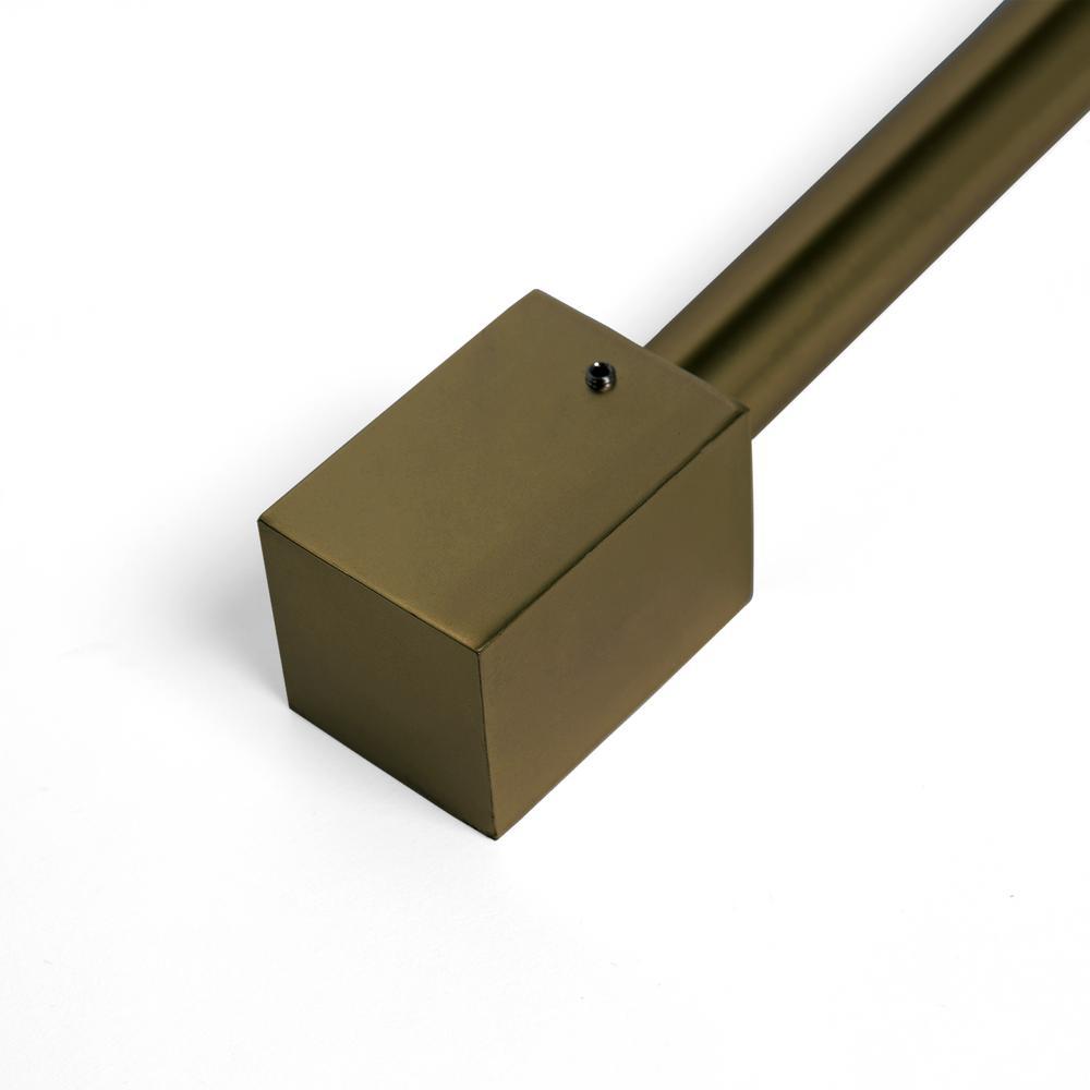 48 in. - 84 in. Telescoping 3/4 in. Curtain Rod Kit in Brass with Cuboid Finial