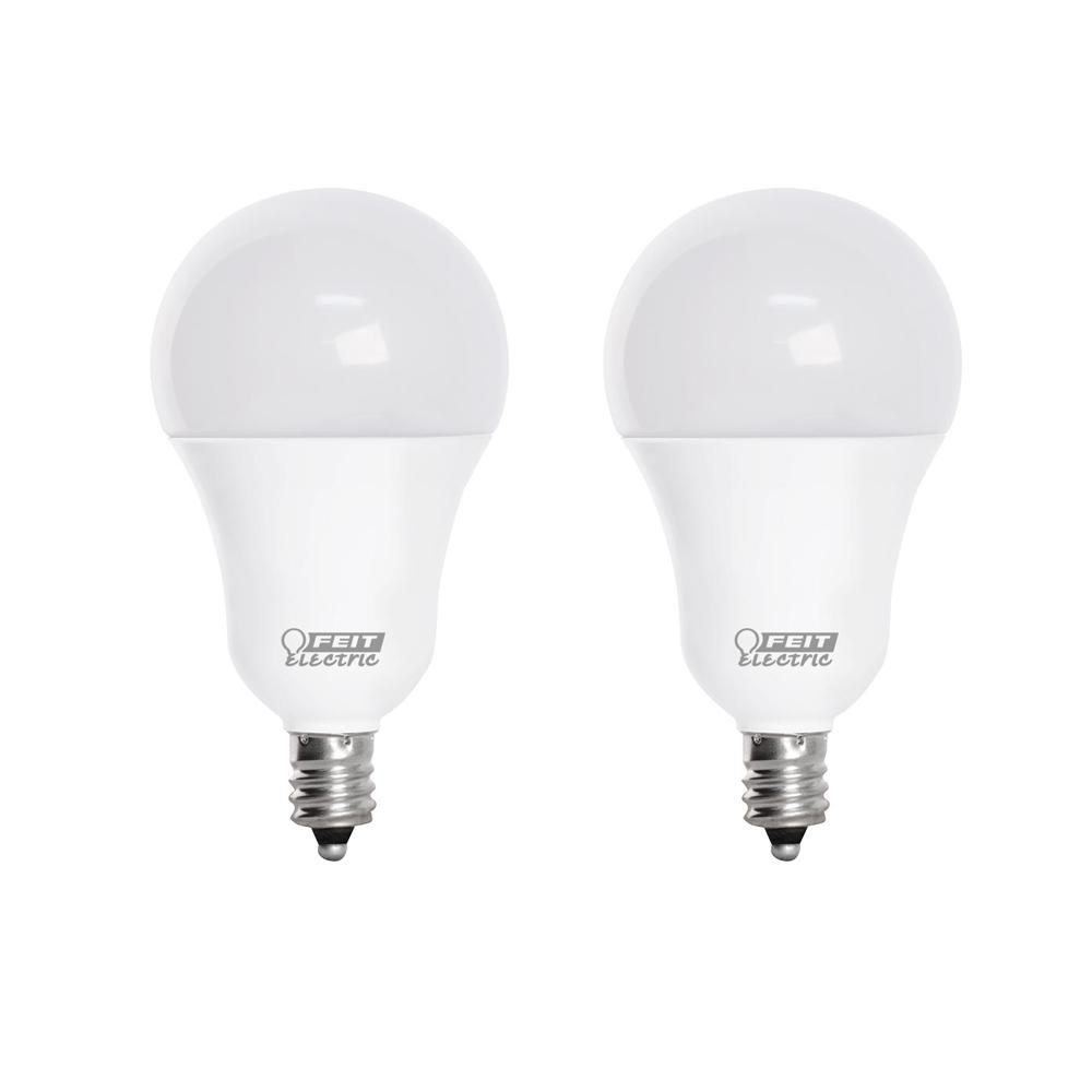 Feit Electric 60w Equivalent A15 Candelabra Dimmable Cec Title 20 90 Cri White Glass Led Ceiling Fan Light Bulb Daylight 2 Pack Bpa1560c 950ca 2 The Home Depot