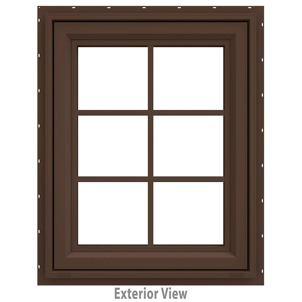 JELD-WEN 23.5 in. x 29.5 in. V-4500 Series Awning Vinyl Window with Grids - Brown