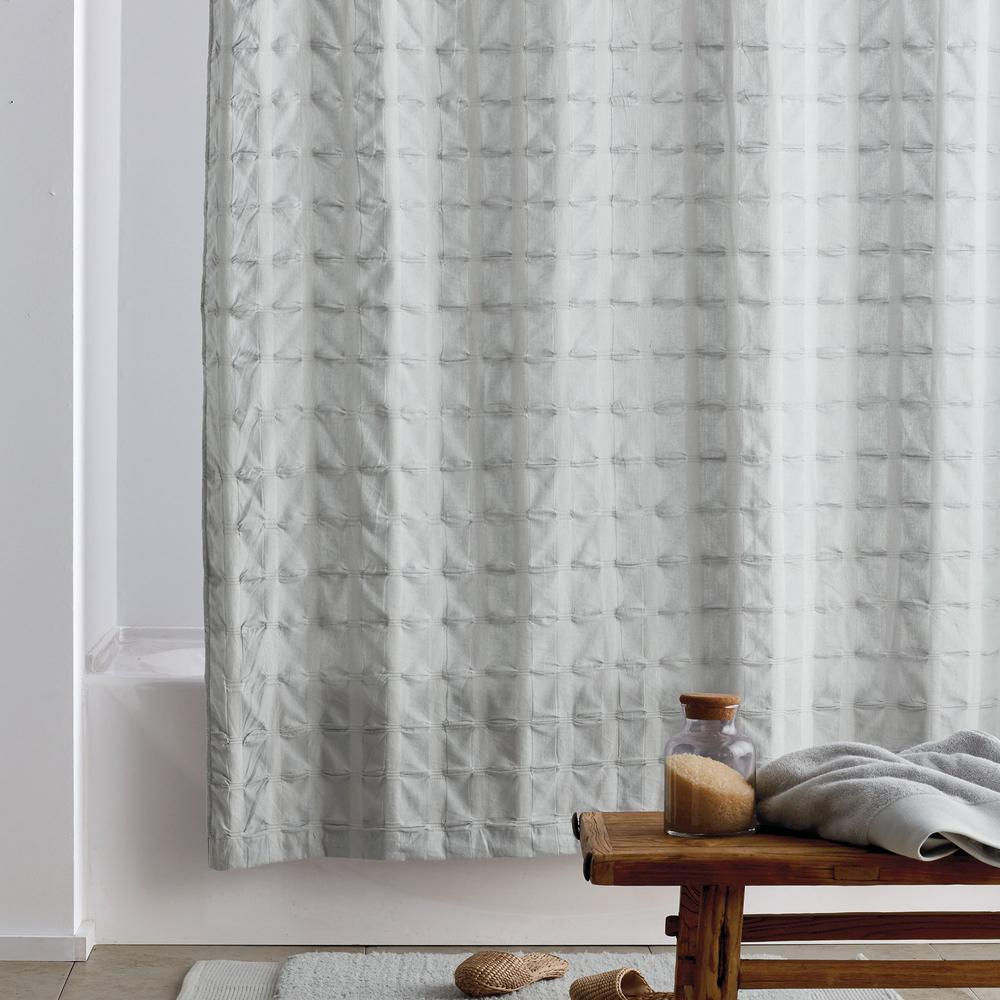The Company Store Organic Cotton 72 in. Glacier Gray Shower Curtain