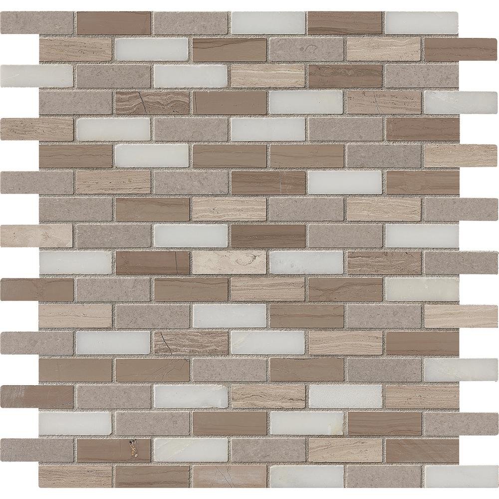 Of Pearl Mini Brick Pattern 11 1 4 In X 12 2 Mm Mosaic Floor And Wall Tile Pitzy Castel Del Monte White The Home Depot