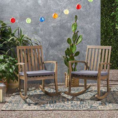 Montrose Grey Acacia Wood Outdoor Patio Rocking Chair with Dark Grey Cushions (2-Pack)