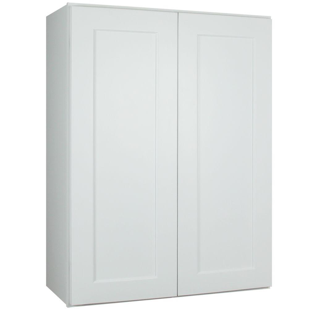 Lakewood Cabinets Shaker Ready to Assemble 24x36x12 in. Plywood Wall Cabinet with 2 Soft Close Doors in White and 2 Adjustable Shelves