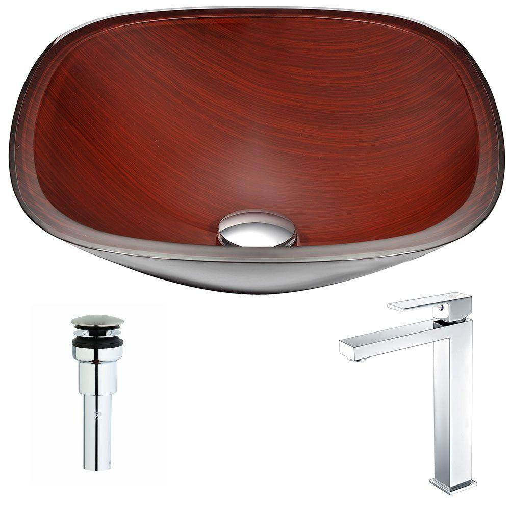 Cansa Series Deco-Glass Vessel Sink in Rich Timber with Enti Faucet