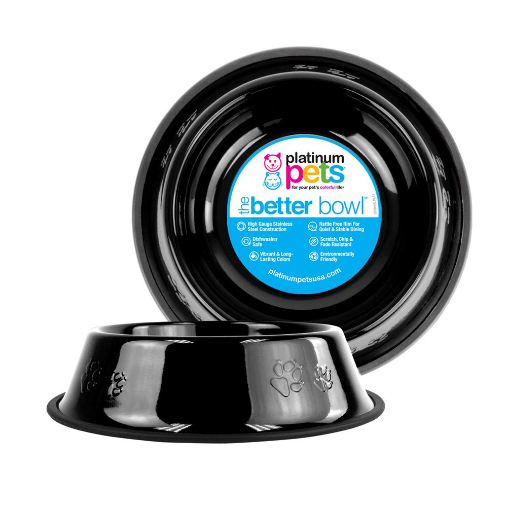 Platinum Pets 6.25 Cup Embossed Non-Tip Stainless Steel Dog Bowl, Midnight Black
