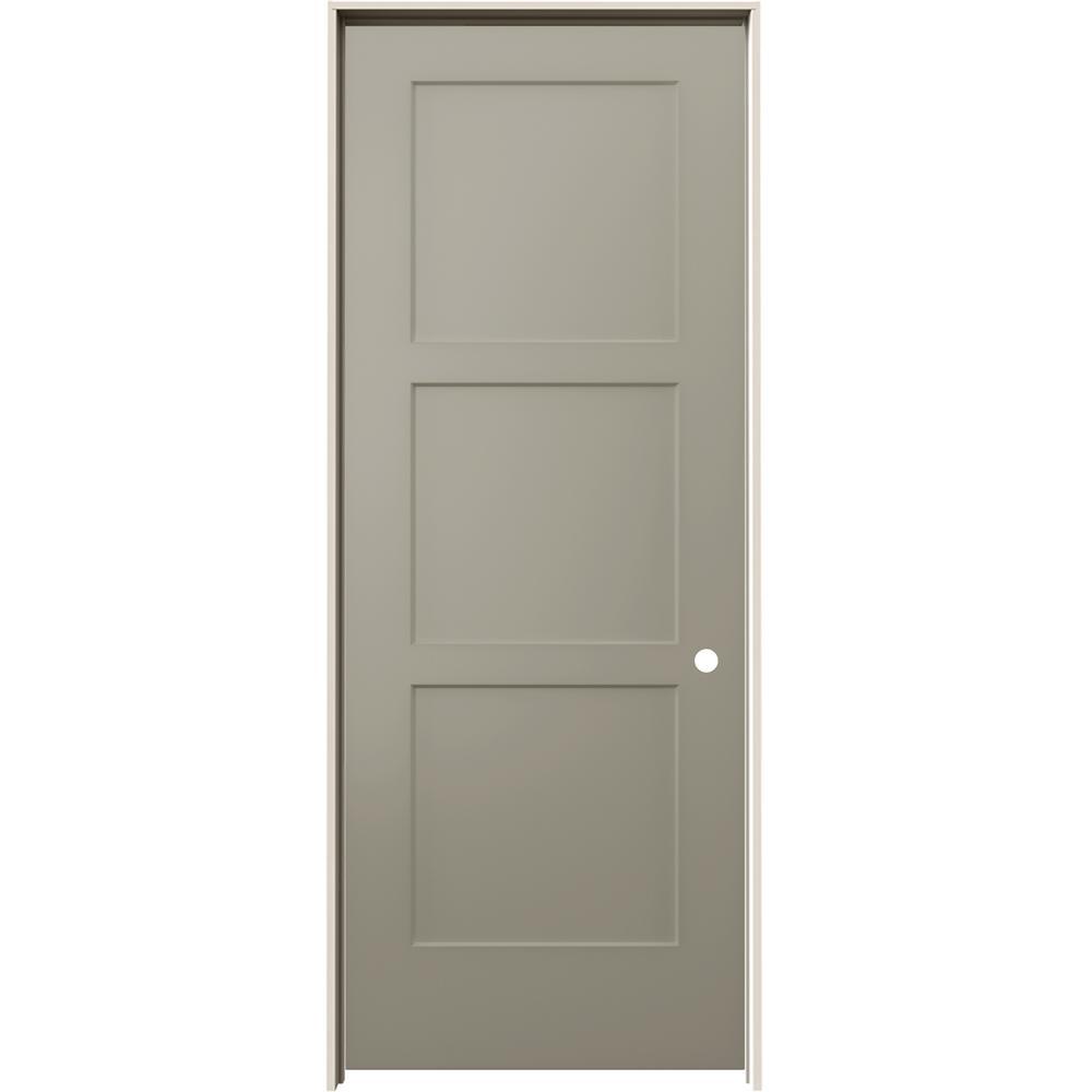 30 in. x 80 in. Birkdale Desert Sand Paint Left-Hand Smooth Solid Core Molded Composite Single Prehung Interior Door