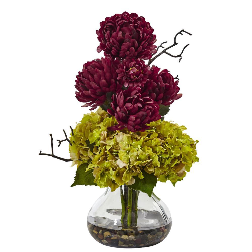 19 in. Hydrangea and Mum in Vase in Green Burgandy