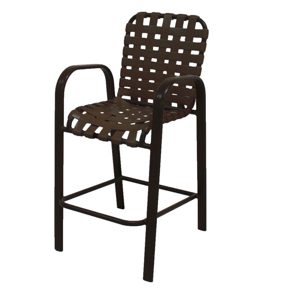 Marco Island Dark Cafe Brown Commercial Aluminum Vinyl Cross Strap Outdoor Bar  Stool In Leisure Brown