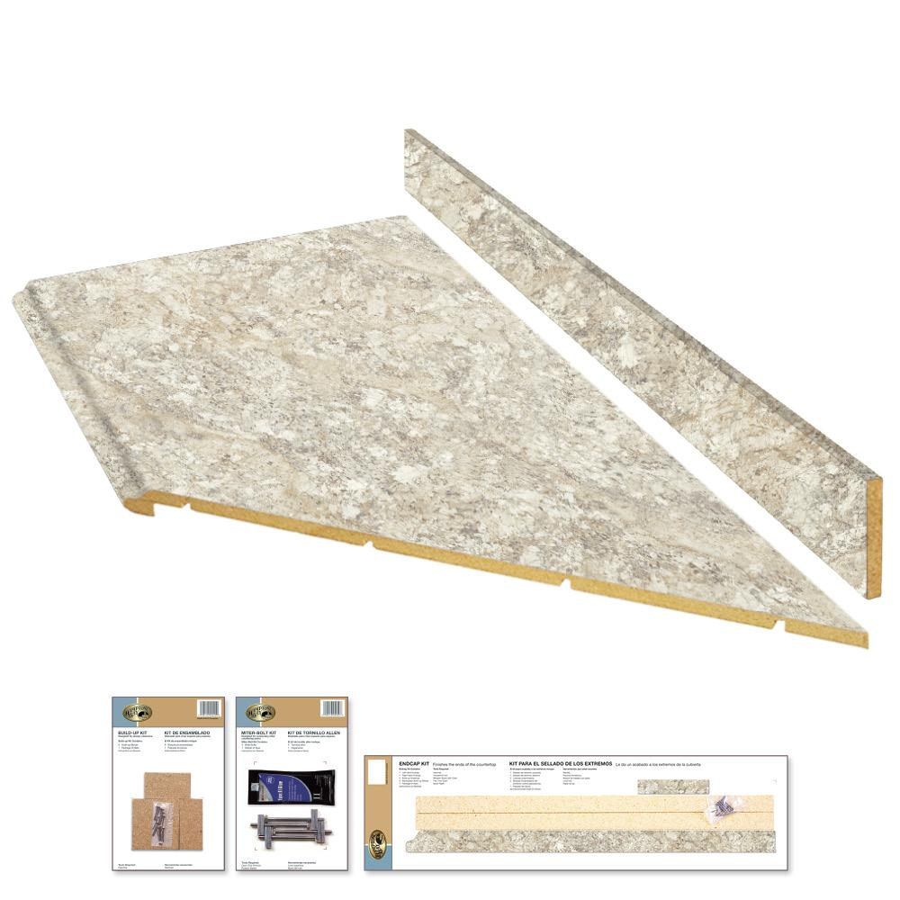 Hampton Bay 8 Ft Laminate Countertop Kit With Right Miter In Spring Carnival Granite With Valencia Edge 12337kt08r1876 The Home Depot